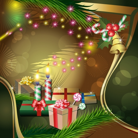 Christmas decoration with candles, gifts, holly, fir and bell Stock Vector - 16904860