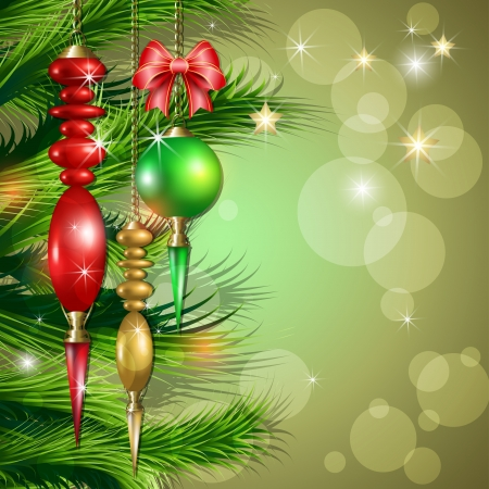 Merry Christmas background whit balls and bow Vector