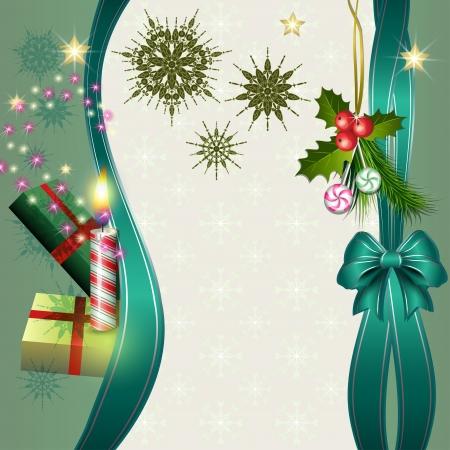 Merry Christmas background avec des bougies, cadeaux, sapin, de houx et de bonbons