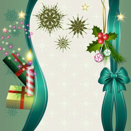 Merry Christmas background with candle, gifts, fir, holly and candy Vector