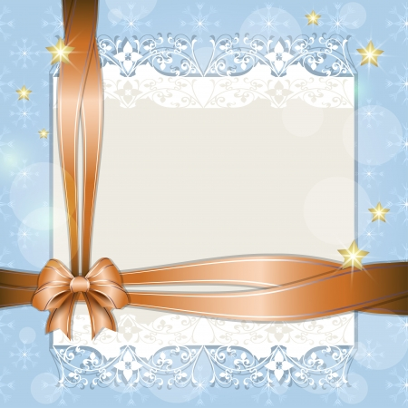 Note with orange ribbon for your text Vector