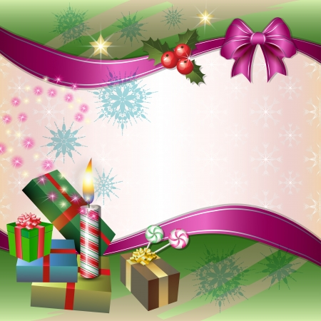 Merry Christmas background with candle, gifts, holly, candy and bow Stock Vector - 17048507