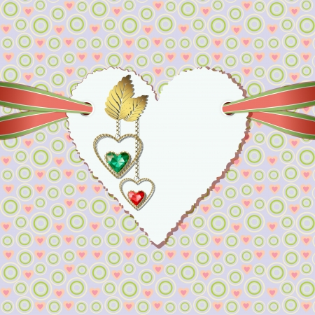 Beautiful diamond hearts with gold ornaments,  and photographic paper heart for text Vector