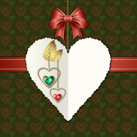 Beautiful diamond hearts with gold ornaments, bow and photographic paper heart for text Vector