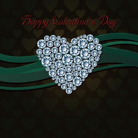 priceless: Beautiful heart of white diamonds on dark background