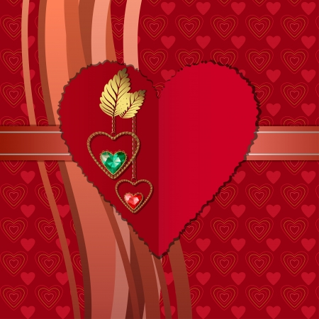birthday backdrop: Beautiful diamond hearts with gold ornaments and photographic paper heart for text Illustration