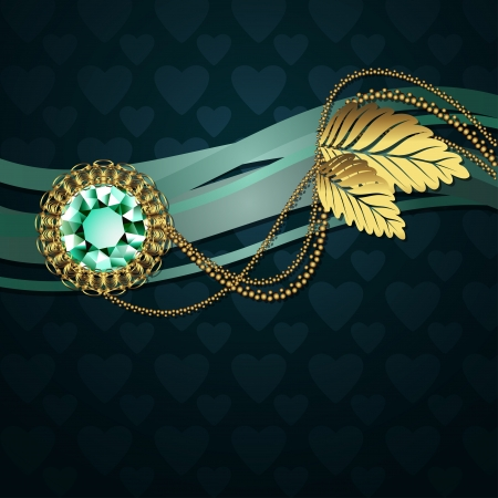 Beautiful illustration with diamond and gold ornaments Vector