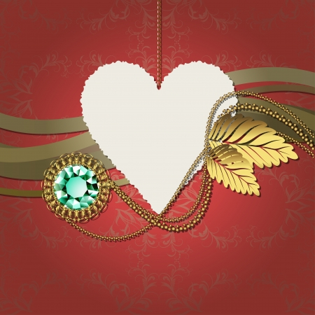 Beautiful illustration with diamond and gold ornaments and photographic paper heart for text Stock Vector - 17504399
