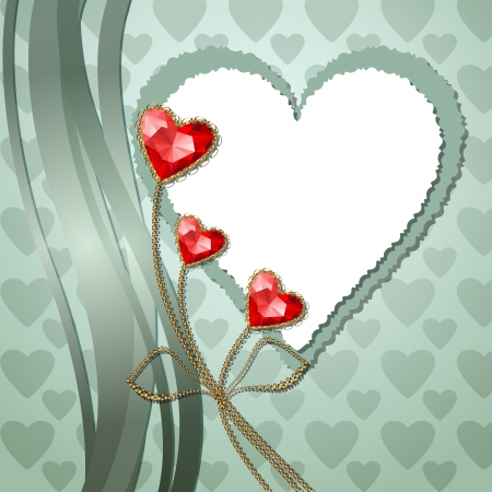 Beautiful three red diamond hearts with gold ornaments and photographic paper heart for text Vector