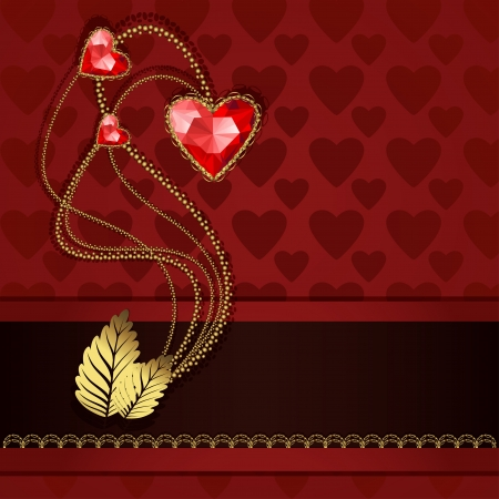 Beautiful three red diamond hearts and gold ornaments on red background Vector