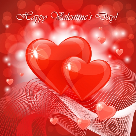 Valentine s day background with abstract hearts Stock Vector - 17504401
