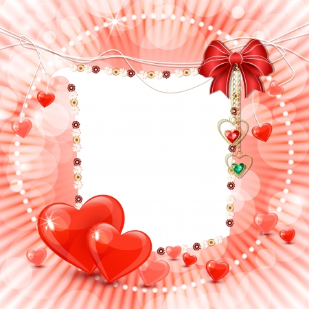 valentine s day: Beautiful valentine s day banner with abstract hearts, bow and diamonds