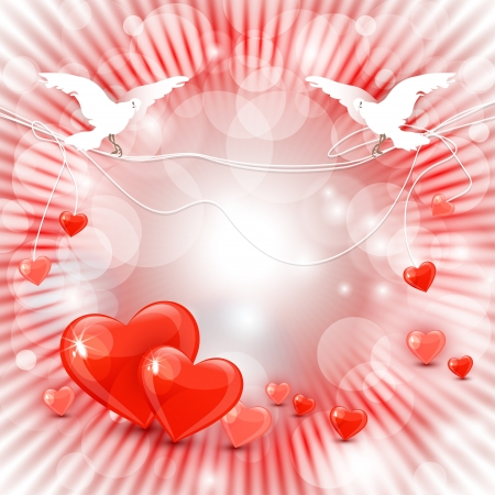 love wallpaper: Beautiful valentine s day background with abstract hearts, pigeons and rays