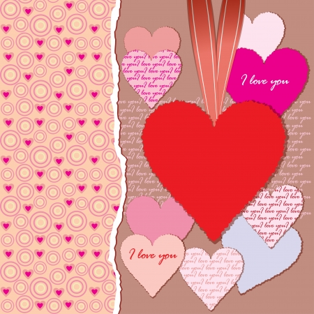 Torn paper with space for text and hearts  Valentine s day  Vector