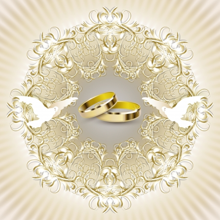 Wedding invitation card with beautiful decorations, pigeons and rings