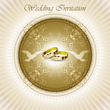 Beautiful vintage wedding invitation card with rings and pigeons  Vector