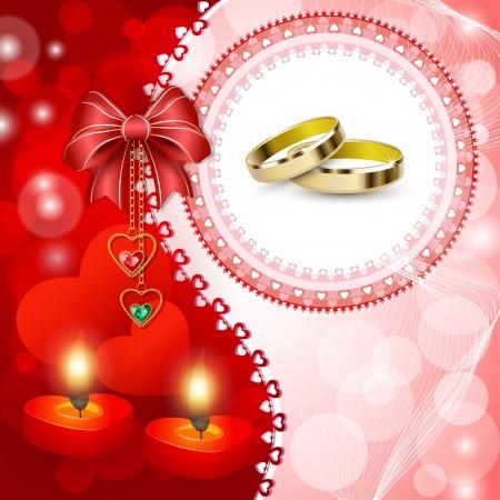 bougie coeur: Carte d'invitation de mariage avec des anneaux, des arcs et des bougies