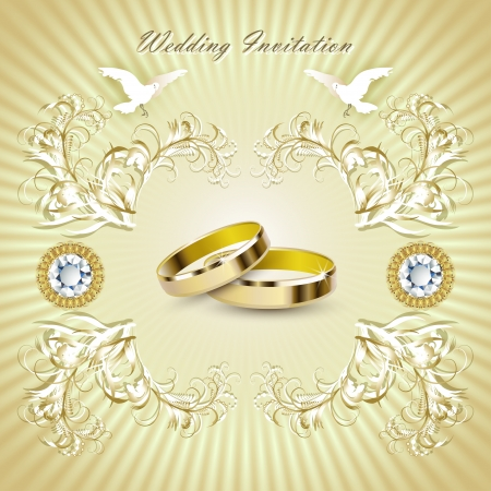 Romantic wedding invitation card with rings and pigeons   Vector
