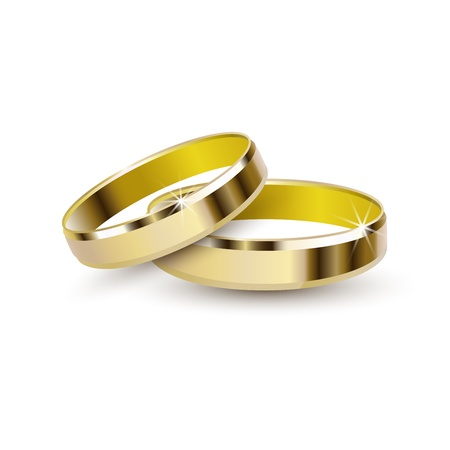 marriage proposal: Gold wedding rings isolated on white background  Illustration