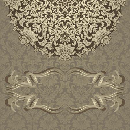 diameter: Carta di invito Vintage con ornamenti floreali
