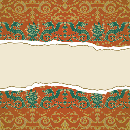 Vintage background, wallpaper torn Vector