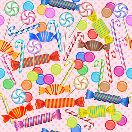 Sweet seamless pattern with mixed colorful candies Vector