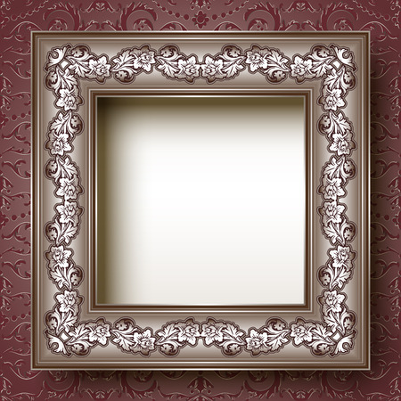 the silvery: Elegant vintage silvery floral frame Illustration
