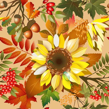 Autumn seamless texture with sunflower, leaves and berries Vector