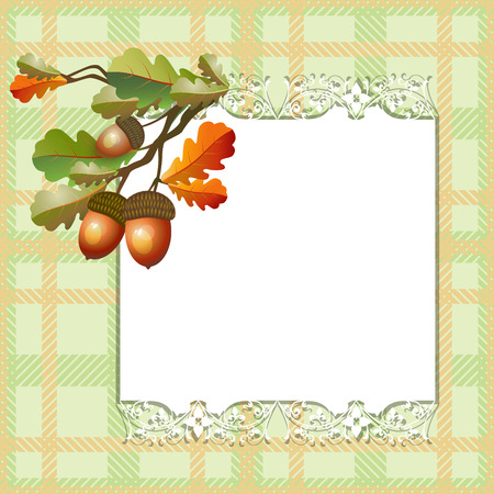acorn seed: Autumn seamless background with oak leafs and acorns Illustration