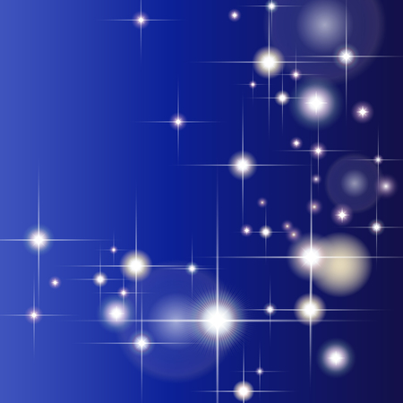 diffraction: Abstract blue background with glittering stars and light diffraction Illustration