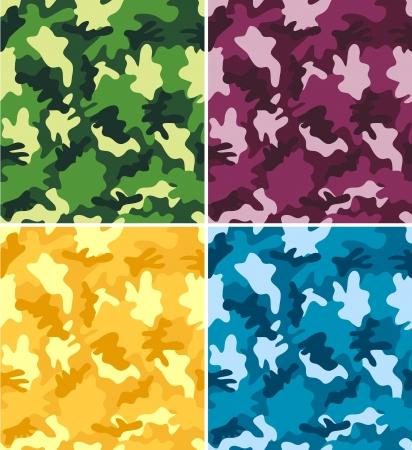 다른 다채로운 위장 패턴의 집합 일러스트