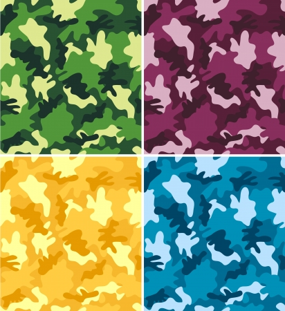 Set of different colorful camouflage patterns Vector