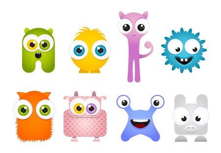 Set of Crazy Cute Cartoon Mascot Monsters Illustration
