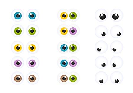 ojos caricatura: Juego de Cartoon Eyes Googly en diversos colores Vectores