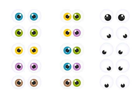 Set of Googly Cartoon Eyes in Different Colors Illustration