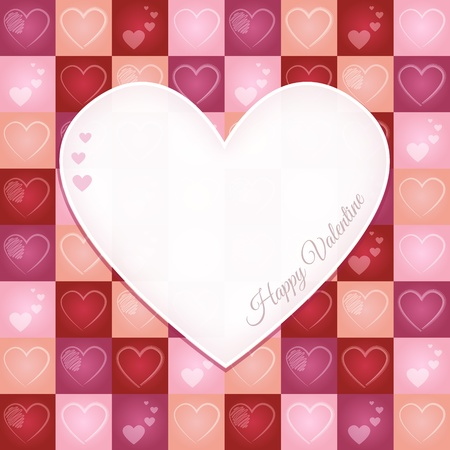 Valentine Card with Heart Pattern Vector
