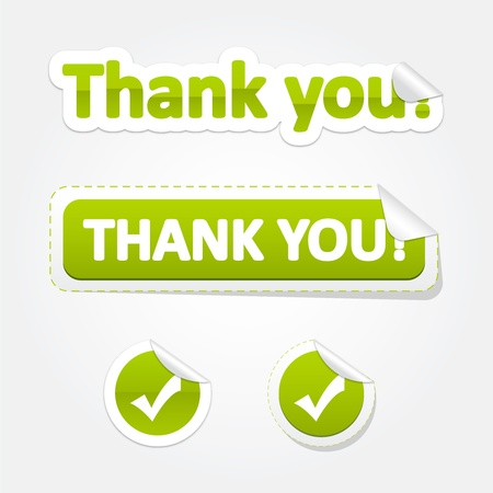Set of Thank You Bent Stickers and Labels Illustration