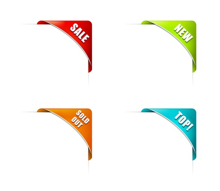 Set of Colorful Corners with Different Signs Stock Vector - 17129142