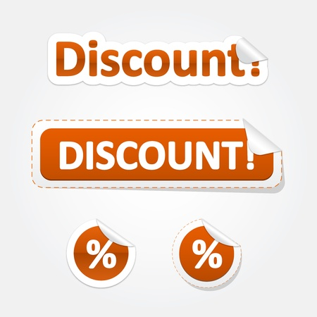 Set of Discount and Percent Bent Stickers and Labels