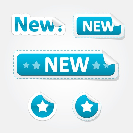 Set of New and Star Bent Stickers and Labels