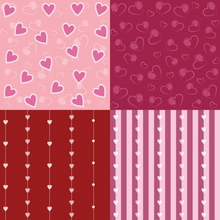 Set of Different Seamless Retro Valentine Patterns with Hearts Illustration