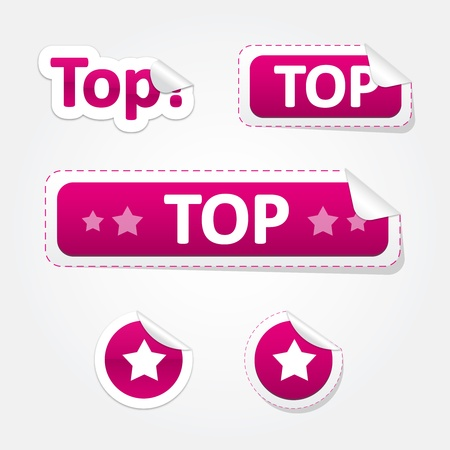 Set of Top and Star Bent Stickers and Labels Illustration