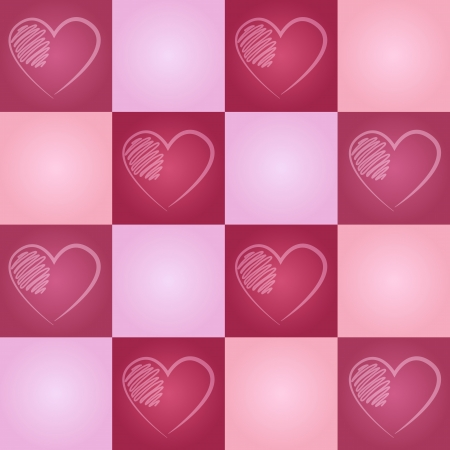 Valentine Seamless Pattern with Hand-drawn Hearts Illustration