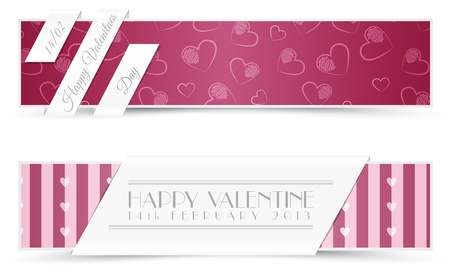 Set of Valentine Card Banners Illustration