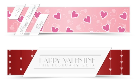 Set of Retro Valentine Banners Illustration