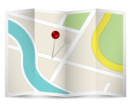 Map Icon with Red Pin Stock Vector - 17781418