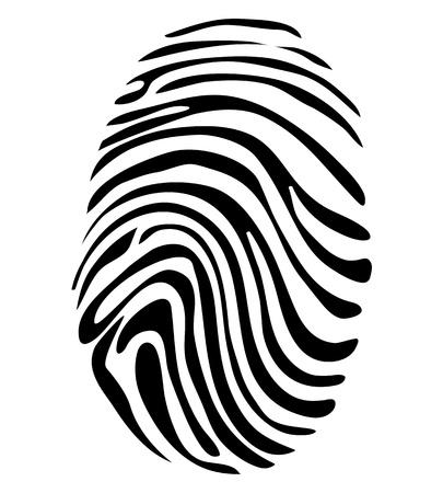 personal identity: Huella digital en blanco y negro Concept