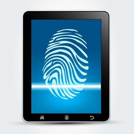 digitized: Escaneo de huellas dactilares Dispositivo Concept Vectores