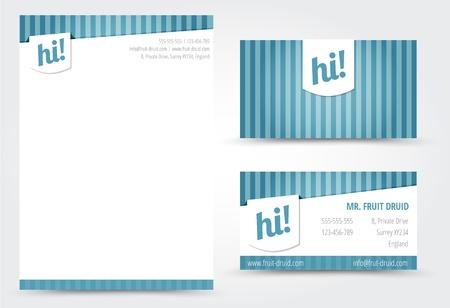 papier en t�te: Lettre et mod�le de carte de visite Illustration