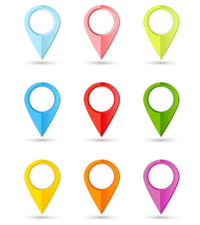 Set of Round Colorful Pointers with Place for Your Text